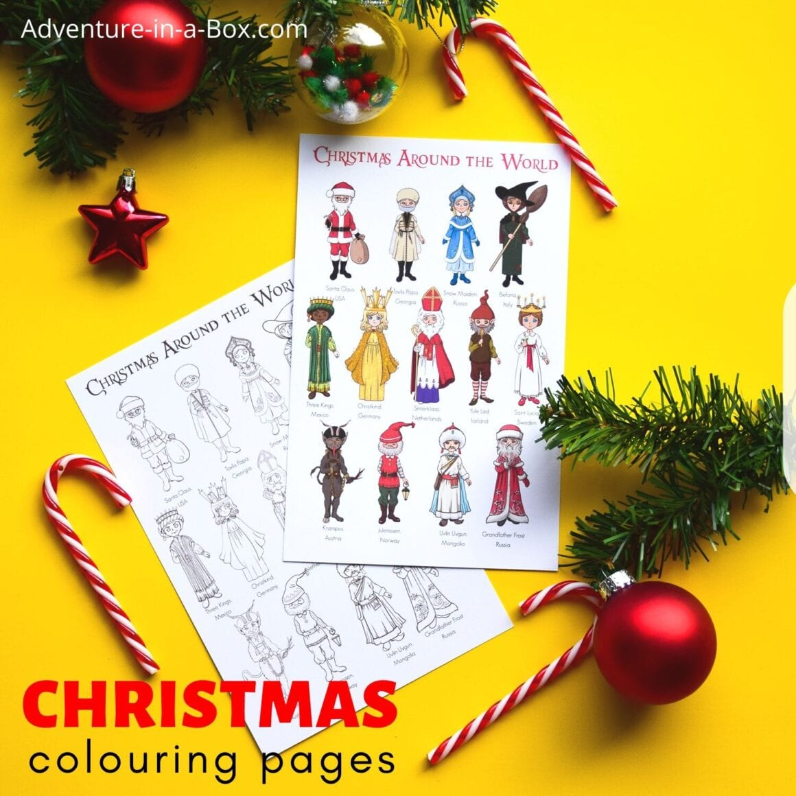 Christmas Around the World: Poster + Colouring Page