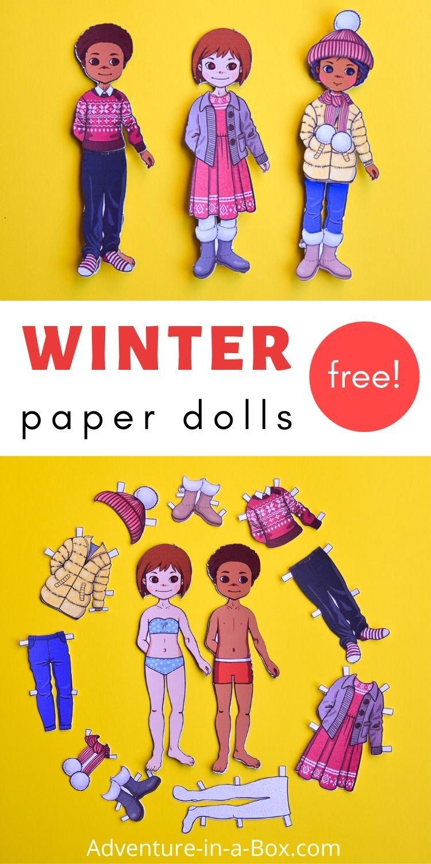 Winter Paper Dolls: Free Printable Templates
