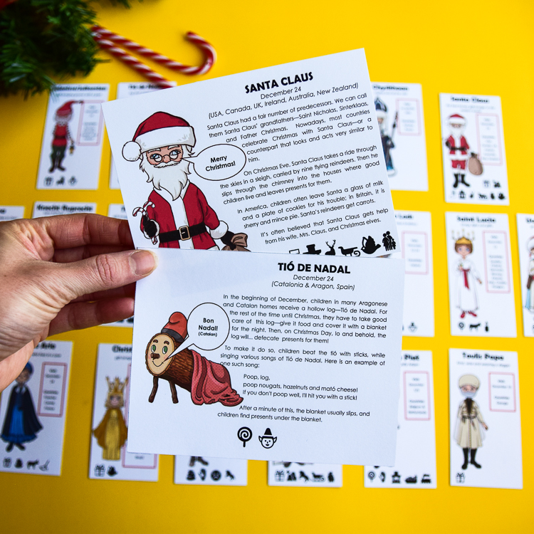 Santa Claus and Tio De Nadal are some of the Christmas characters represented in this board game