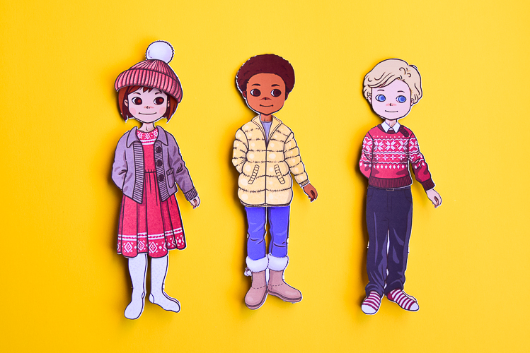 Paper dolls include two boys and two girls