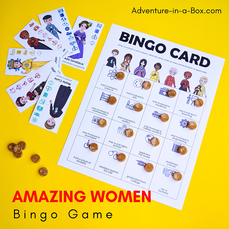 Bingo game featuring famous women from history