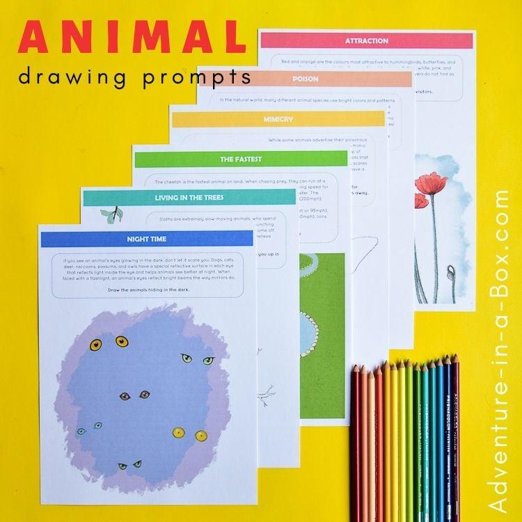 15 Printable Animal Drawing Prompts