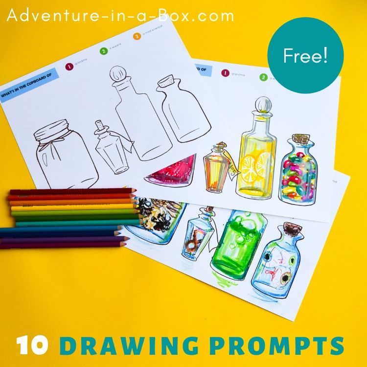 Free printable drawing prompts for kids