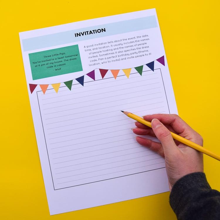 Invitations Writing Prompt