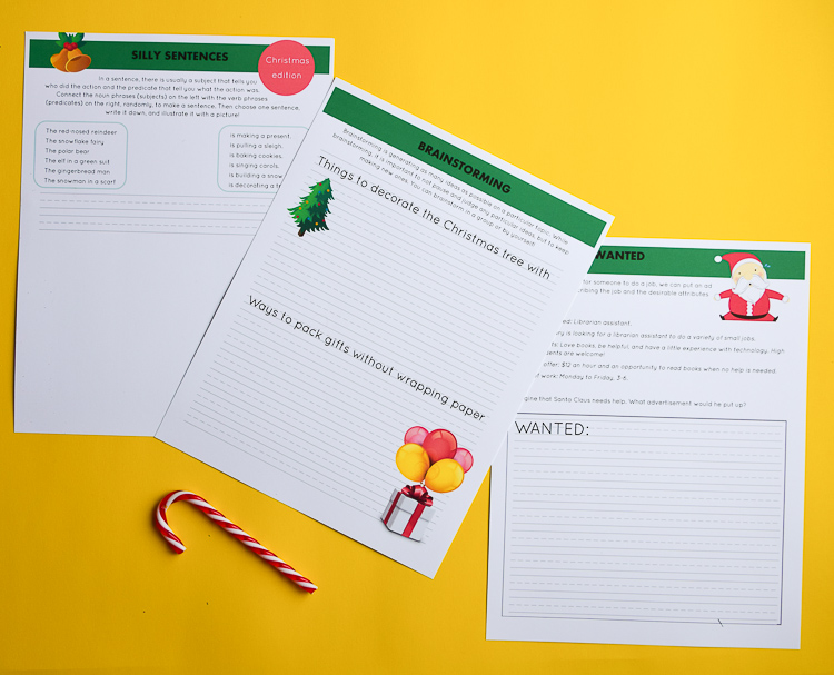 free Christmas writing prompts for kids