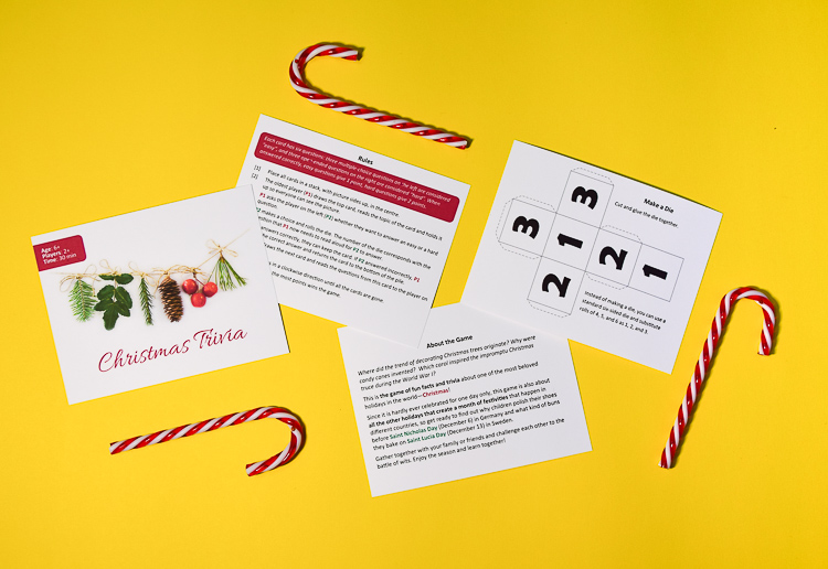 Printable Christmas trivia game includes a printable die template
