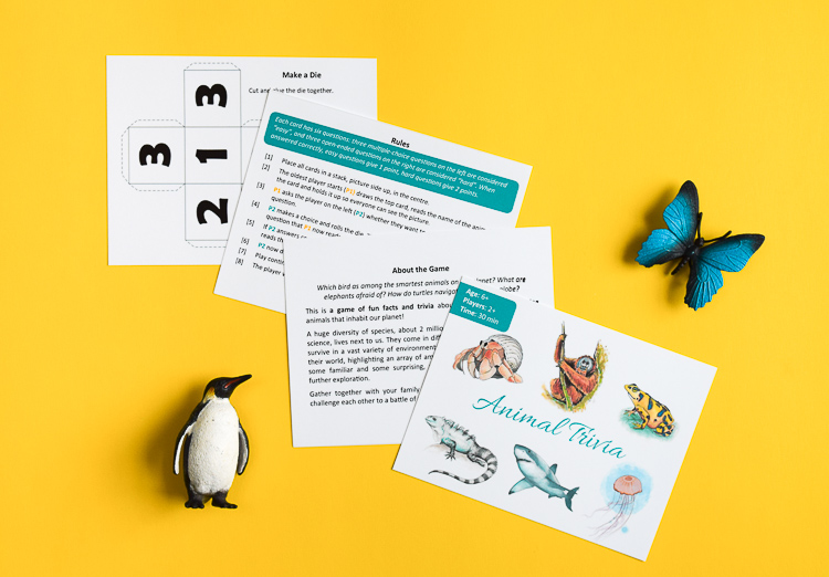 Animal Trivia game cover, rules, and die template