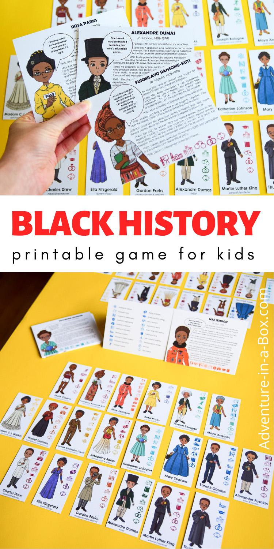 Black History printable game for kids