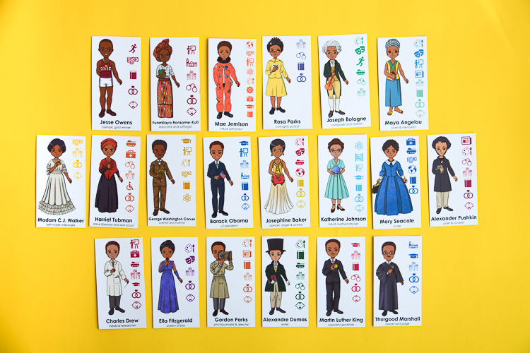 The Black History Guess Who game features twenty personalities