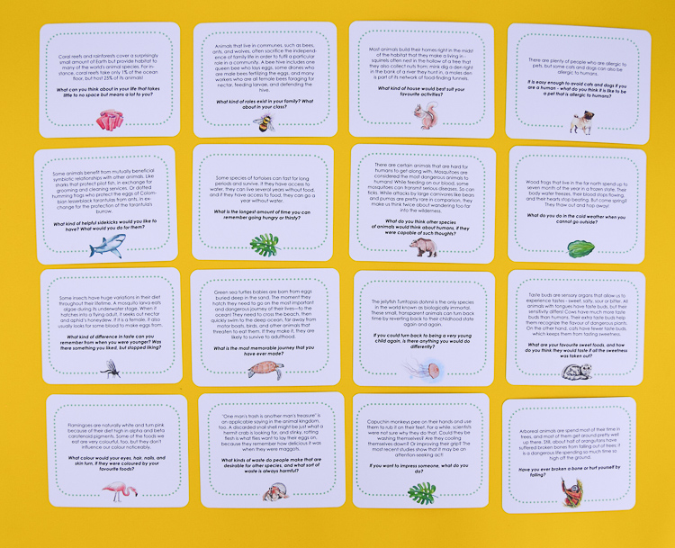 The set of 20 animal fact conversation starters for kids