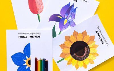 Flower Symmetry: Draw the Missing Half Art Prompts
